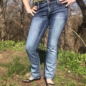 Maurice's Distressed Mid-rise Bootcut Jeans